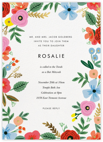 Stitched Bouquet - Rifle Paper Co. - Bat and Bar Mitzvah Invitations
