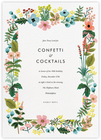 Spring Gathering - White - Rifle Paper Co. - Adult Birthday Invitations