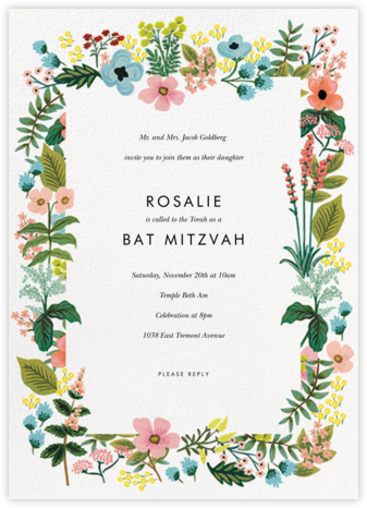 Spring Gathering - White - Rifle Paper Co. - Bar and Bat Mitzvah Invitations