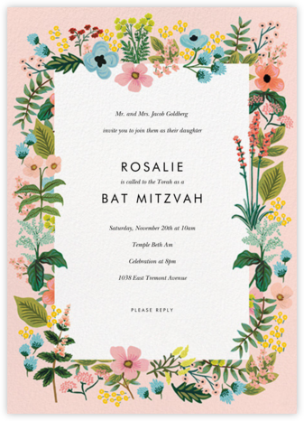 Spring Gathering - Meringue - Rifle Paper Co. - Bat and Bar Mitzvah Invitations