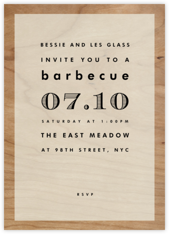 Wood Grain Color Block - White - Paperless Post - Summer entertaining invitations