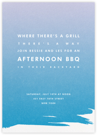 Gradient Painted - Blue - Paperless Post - BBQ Invitations