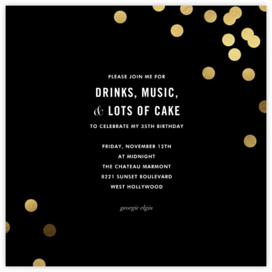 Confetti (Square) - Black - kate spade new york - New Year's Eve Invitations