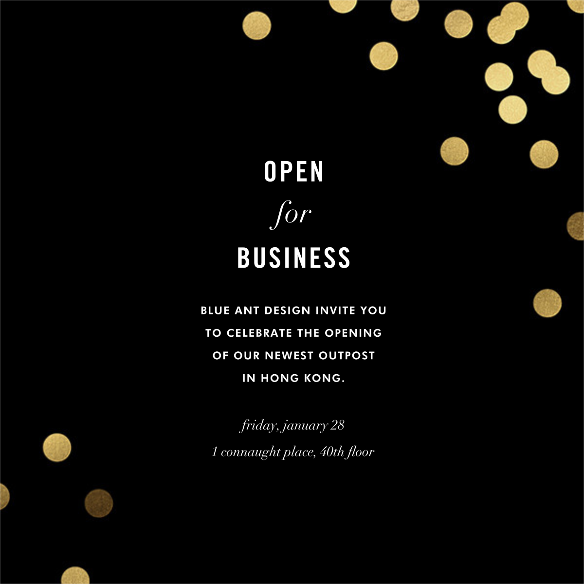 Confetti (Square) - Black - kate spade new york - Kate Spade invitations, save the dates, and cards