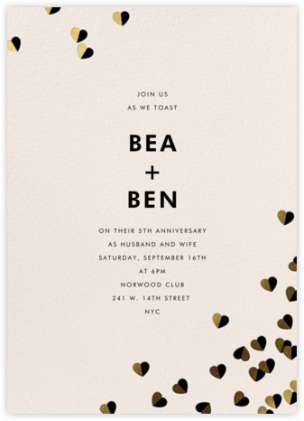 Better Halves - Black/Gold - kate spade new york - Kate Spade invitations, save the dates, and cards