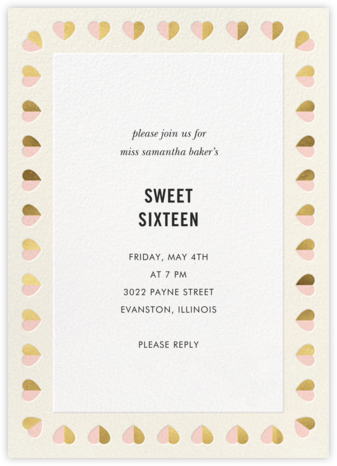 Better Halves Border - Cream - kate spade new york - Sweet 16 invitations