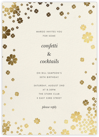 Clover and Over - Cream - kate spade new york - Adult Birthday Invitations