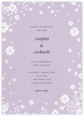 Clover and Over - Lilac - kate spade new york - Adult birthday invitations