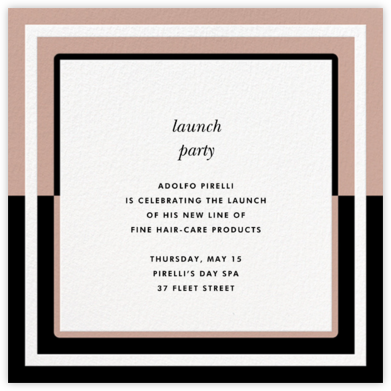 Colorblocked Border - Rose/Black - kate spade new york - Launch Party Invitations