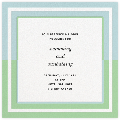 Colorblocked Border - Green/Blue - kate spade new york - Summer Party Invitations