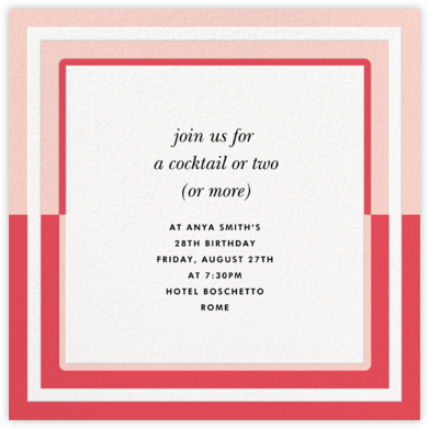 Colorblocked Border - Pink - kate spade new york - Adult Birthday Invitations