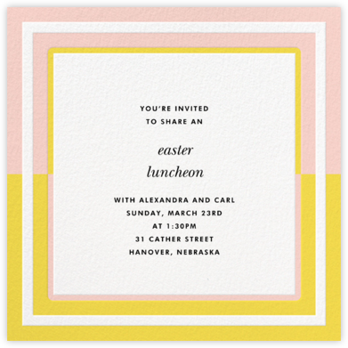Colorblocked Border - Yellow/Pavlova - kate spade new york - Easter invitations