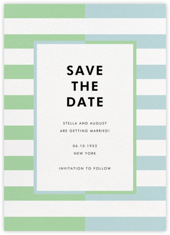 Colorblocked Stripes - Green/Blue - kate spade new york - Kate Spade invitations, save the dates, and cards
