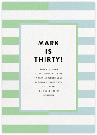 Colorblocked Stripes - Green/Blue - kate spade new york - Adult Birthday Invitations