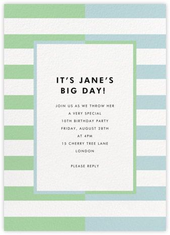 Colorblocked Stripes - Green/Blue - kate spade new york - Online Kids' Birthday Invitations