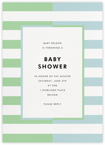 Colorblocked Stripes - Green/Blue - kate spade new york - Baby shower invitations