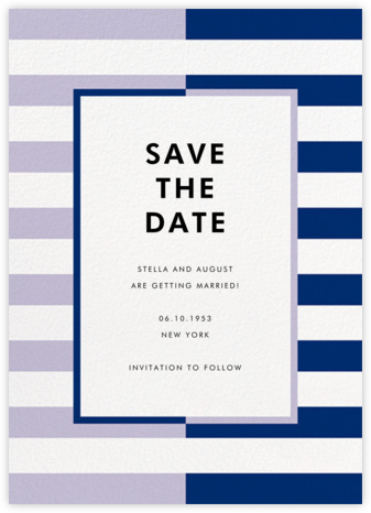 Colorblocked Stripes - Lilac/Navy - kate spade new york - Save the dates