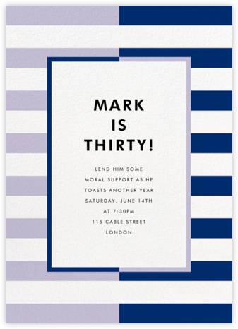 Colorblocked Stripes - Lilac/Navy - kate spade new york - Adult Birthday Invitations