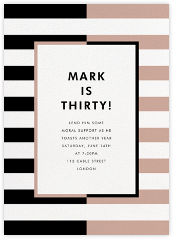 Colorblocked Stripes - Black/Rose - kate spade new york - Adult Birthday Invitations