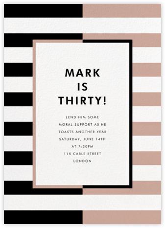 Colorblocked Stripes - Black/Rose - kate spade new york - Adult Birthday Invitations