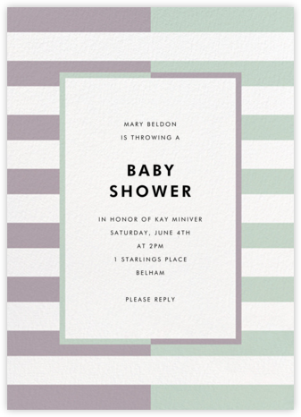Colorblocked Stripes - Lilac/Mint - kate spade new york - Baby Shower Invitations