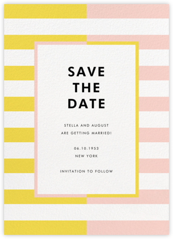 Colorblocked Stripes - Yellow/Pavlova - kate spade new york - Kate Spade invitations, save the dates, and cards