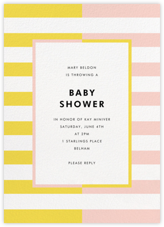 Colorblocked Stripes - Yellow/Pavlova - kate spade new york - Baby Shower Invitations
