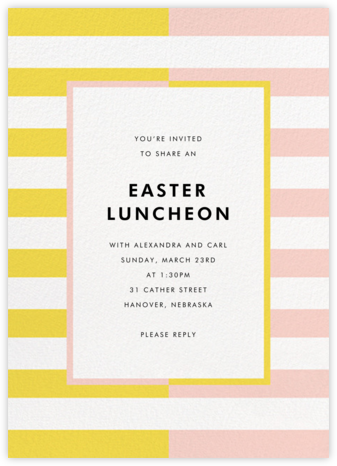 Colorblocked Stripes - Yellow/Pavlova - kate spade new york - Easter invitations