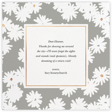 Embossed Daisies - Charcoal - kate spade new york - Online Thank You Cards