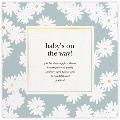 Embossed Daisies - Mint - kate spade new york - Baby Shower Invitations