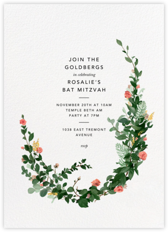Rosedal - Blossom - Paperless Post - Bat and Bar Mitzvah Invitations