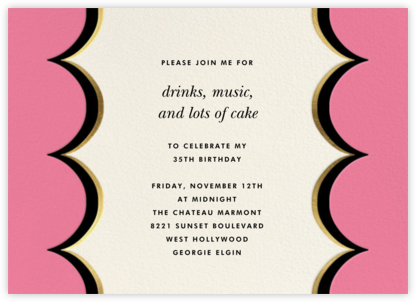 Intarsia Scallop - Pink - kate spade new york - Adult Birthday Invitations