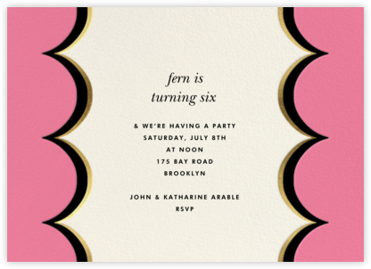 Intarsia Scallop - Pink - kate spade new york - Online Kids' Birthday Invitations