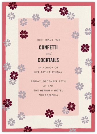 Mod Clover - Cream/Pink - kate spade new york - Adult Birthday Invitations