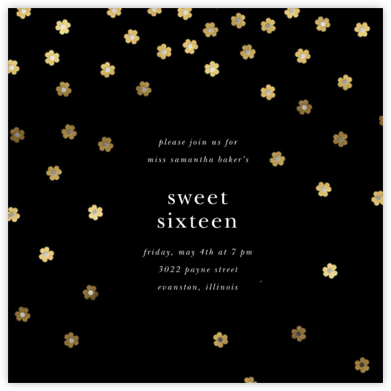 Orchid Shower (Square) - Black - kate spade new york - Sweet 16 invitations