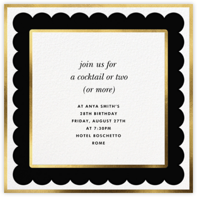 Scalloped Border - Black - kate spade new york - Adult Birthday Invitations