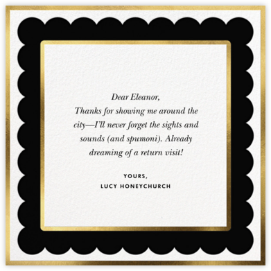 Scalloped Border - Black - kate spade new york - Online Thank You Cards