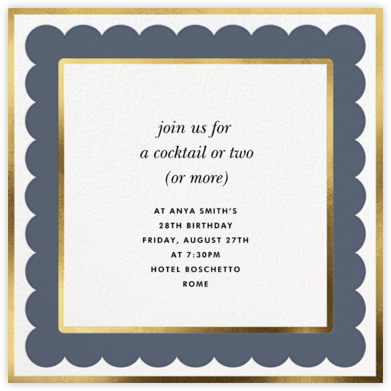 Scalloped Border - Cadet - kate spade new york - Adult Birthday Invitations