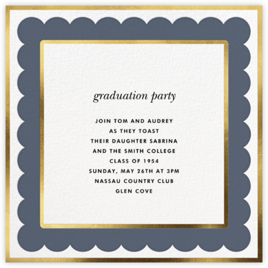 Scalloped Border - Cadet - kate spade new york - Celebration invitations