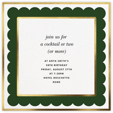Scalloped Border - Hunter Green - kate spade new york - Adult birthday invitations