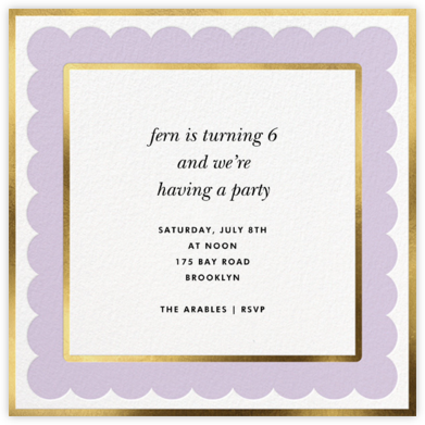 Scalloped Border - Lilac - kate spade new york - Online Kids' Birthday Invitations