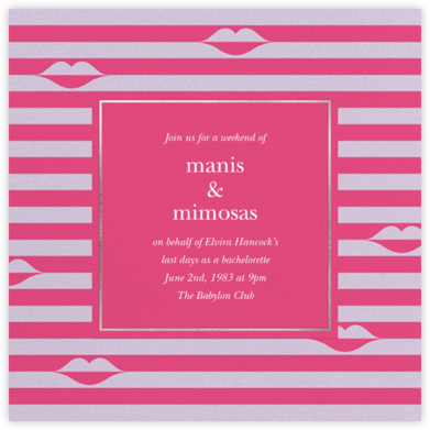 Sealed Lips - Pink - kate spade new york - Bachelorette party invitations