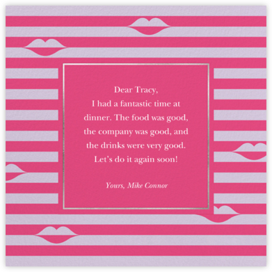 Sealed Lips - Pink - kate spade new york - Online Thank You Cards