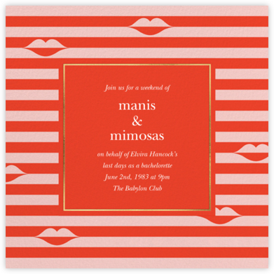 Sealed Lips - Red - kate spade new york - Bachelorette party invitations