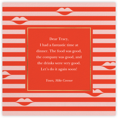 Sealed Lips - Red - kate spade new york - Online Thank You Cards