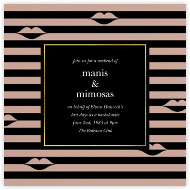 Sealed Lips - Black - kate spade new york - Bachelorette party invitations