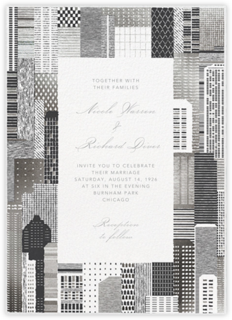 Lever House (Invitation) - Silver - Paperless Post - Wedding Invitations