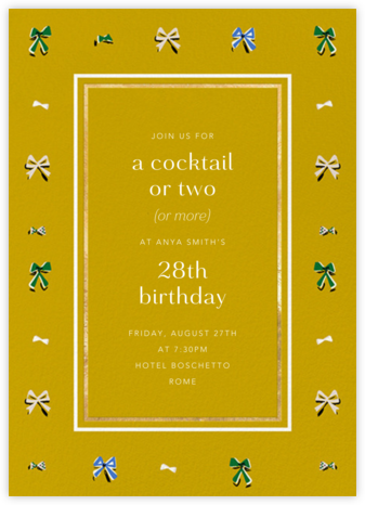 Border Bows - Chartreuse - Anthropologie - Adult Birthday Invitations