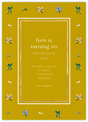Border Bows - Chartreuse - Anthropologie - Online Kids' Birthday Invitations