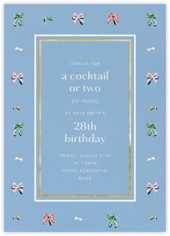 Border Bows - Spring Rain - Anthropologie - Adult Birthday Invitations